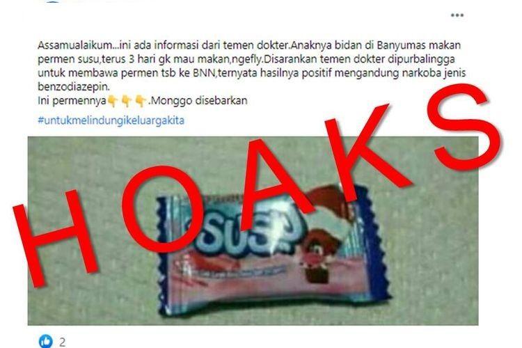 Hoaks, informasi yang menyebutkan permen susu mengandung narkoba.