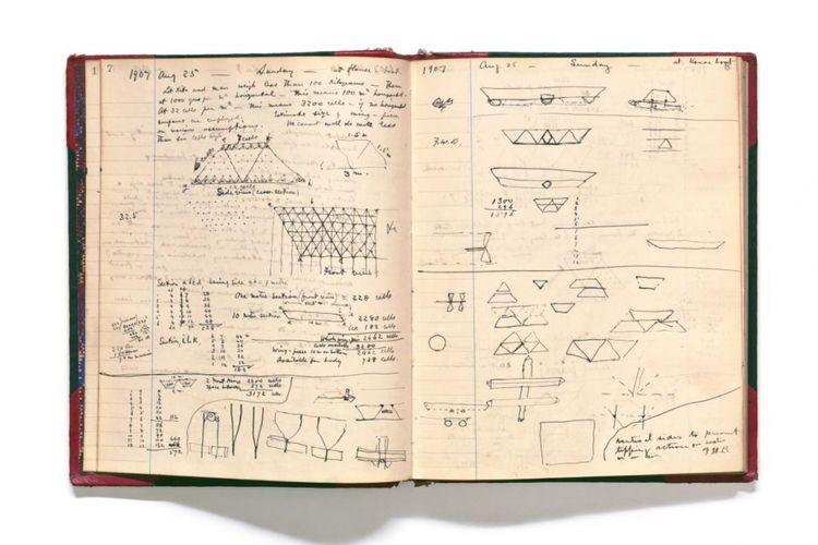 DALAM BENAK SANG PENEMU. Sambil tetap bekerja di telepon, Bell mulai tertarik untuk merancang mesin terbang. Selama tiga dekade ia bereksperimen dengan aeronautika, termasuk desain (di atas) untuk membangun layang tetrahedral, yang menggunakan sel segitiga untuk stabilitas. Pada bulan Desember 1907—setahun setelah Wright bersaudara mematenkan pesawat mereka—salah satu layang-layang Bell terbang dengan manusia di dalamnya untuk pertama kalinya. Penumpangnya, Letnan Thomas Selfridge, menjadi orang pertama yang tewas dalam kecelakaan pesawat saat ia menguji Wright Military Flyer 1908 pada tahun berikutnya.