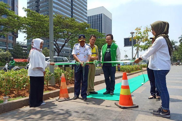 Grab Indonesia dan Pemprov DKI Jakarta meresmikan Program Peningkatan Mutu Jalur Sepeda bagi Alat Mobilitas Pribadi di DKI Jakarta, Senin (18/11/2019).