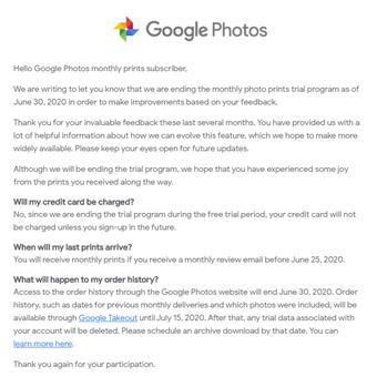 Pernyataan Google yang diterima oleh pelanggan Google Photos terkait layanan mencetak foto di platform tersebut.