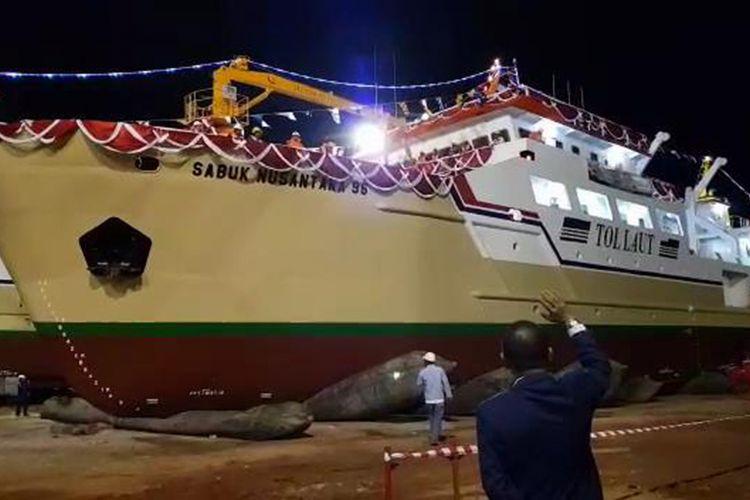 Kapal Sabuk Nusantara 96 yang diluncurkan di Pelabuhan Ketapang Pangkal Pinang, Kepulauan Bangka Belitung.