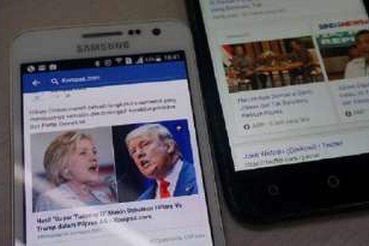 Tampilan fitur Instant Article di layar ponsel sebelah kiri dan fitur Accelerated Mobile Pages (AMP) ada di layar ponsel sebelah kanan, Rabu (16/3/2016). Baik Facebook maupun Google mengincar media daring untuk menghadirkan konten lebih cepat kepada pengguna perangkat mobile.