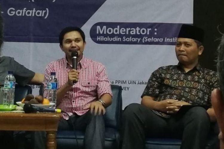 Seorang mantan pengikut Gafatar, Adam Mirza dalam sebuah diskusi di Kantor YLBHI, Jakarta, Kamis (22/3/2018).