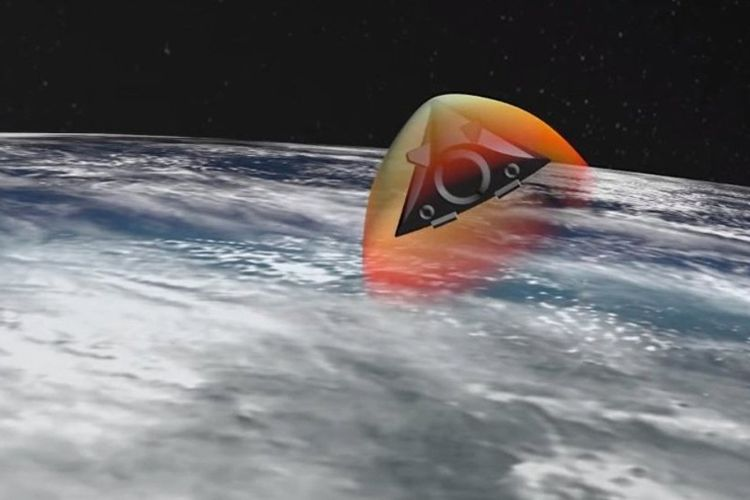 Grafis komputer yang memperlihatkan senjata hipersonik Rusia bernama Avangard melesat melewati atmosfer Bumi.