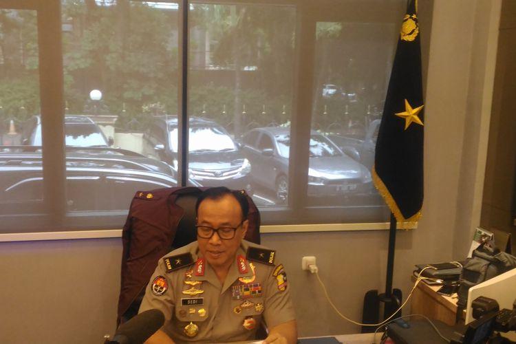 Kepala Biro Penerangan Masyarakat Humas Brigjen (pol) Dedi Prasetyo di Gedung Humas Mabes Polri, Jakarta, Senin (11/3/2019).