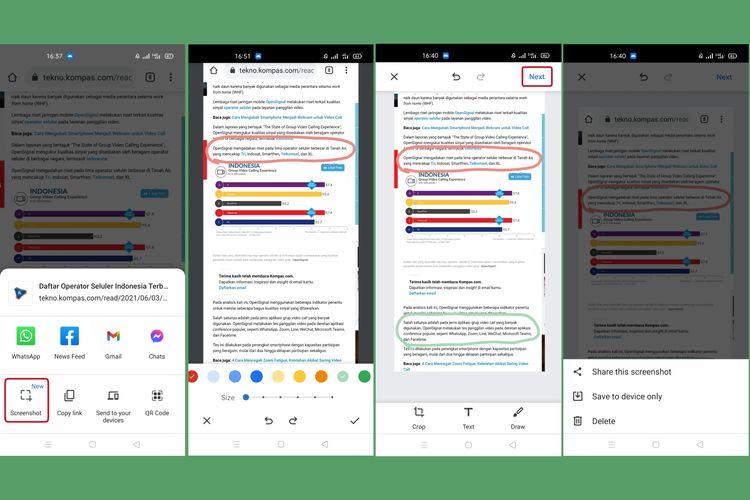 Cara menggunakan fitur baru screenshot di Google Chrome Android.