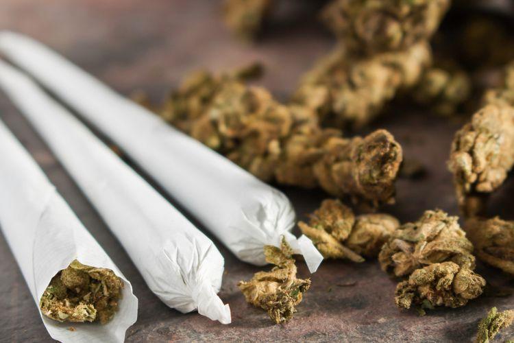 Ilustrasi ganja dijadikan rokok