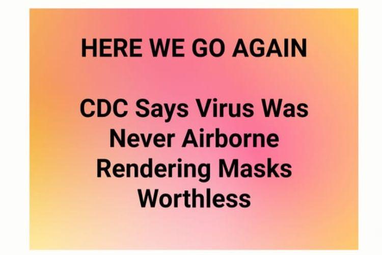 Status Facebook soal CDC menyatakan virus Covid-19 tidak menyebar lewat udara.
