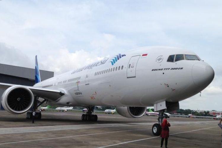 Tampak pesawat terbaru Garuda Indonesia, Airbus A330-300 dan Boeing 777-300ER yang diresmikan di Hangar 4 GMF-Aeroasia, Bandara Soekarno-Hatta, Tangerang, Senin (1/2/2016).