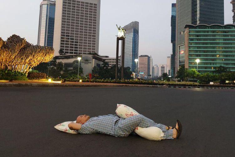 Jalan MH Thamrin yang lenggang, Kamis (6/6/2019).