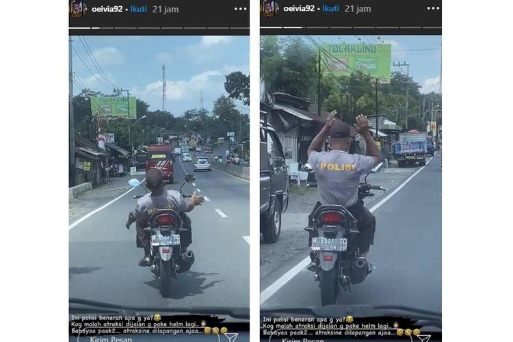 Sebuah video yang menampilkan seorang pemotor dengan berkaus polisi melakukan atraksi lepas setang dan tidak menggunakan helm, viral di media sosial.