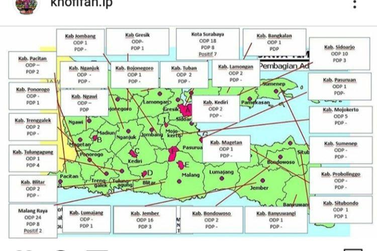 Peta sebaran Covid-19 di Jatim yang diunggah Gubernur Jatim Khofifah Indar Parawansa di akun instagramnya Jumat (20/3/2020) pagi.