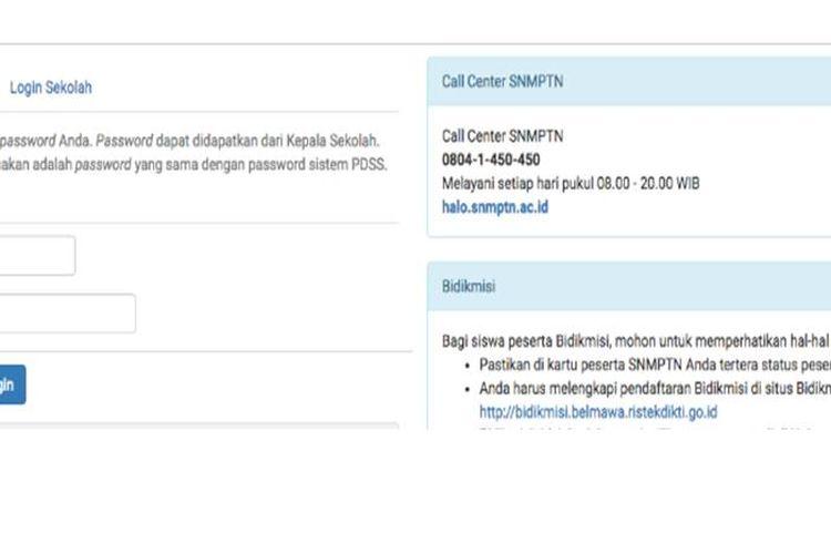 Halaman login pendaftaran SNMPTN