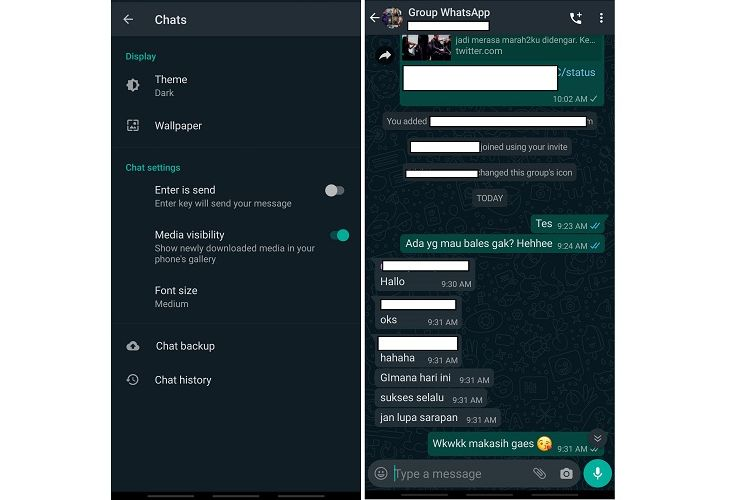 Tampilan WhatsApp Dark Mode
