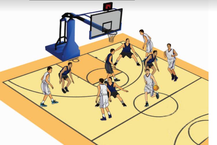 Ilustrasi strategi bertahan pada permainan bola basket