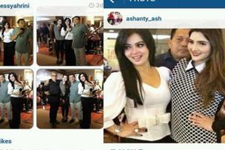 Baik Syahrini maupun Ashanty sama-sama mengunggah foto yang menunjukkan keakraban mereka dalam sebuah acara di Jakarta baru-baru ini.