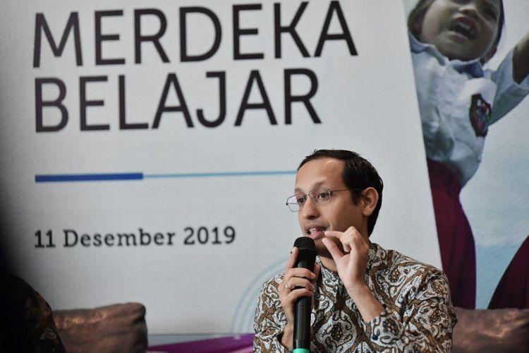 Menteri Pendidikan dan Kebudayaan, Nadiem Makariem dalam peluncuran Empat Pokok Kebijakan Pendidikan ?Merdeka Belajar?, di Jakarta, Rabu (11/12/2019).