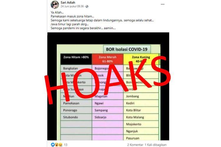 Tangkapan layar unggahan hoaks zona hitam di Jawa Timur