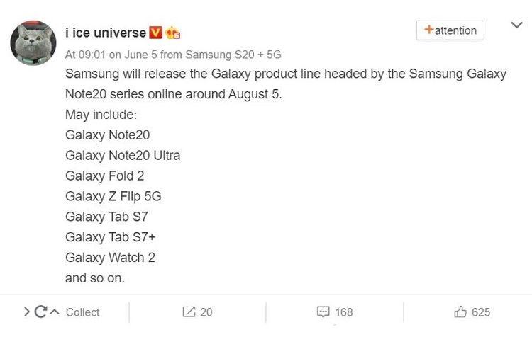 Unggahan Ice Universe di Weibo (diterjemahkan dari bahasa Mandarin ke Inggris) terkait peluncuran Galaxy Note 20 series.