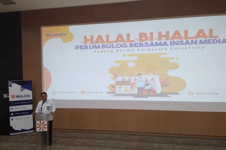 Direktur Utama Perum Bulog Budi Waseso dalam sambutannya di acara Halal Bihalal Perum Bulog di Jakarta, Selasa (2/7/2019).