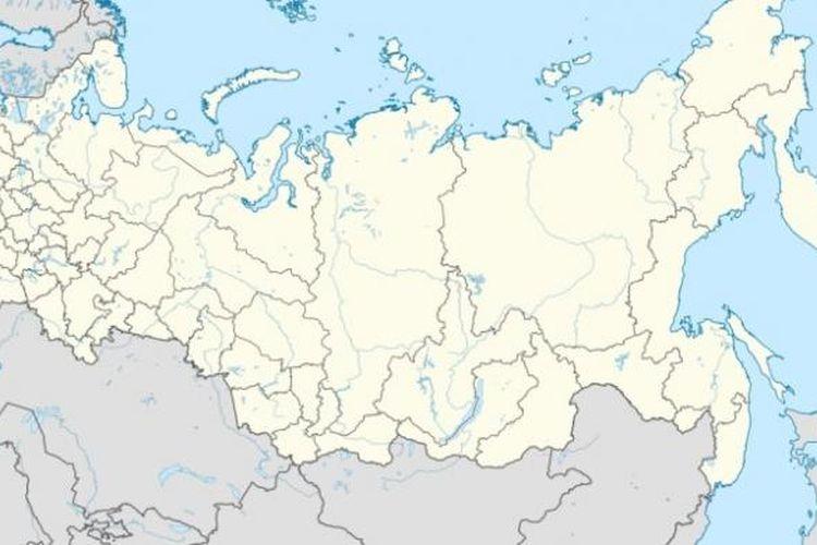 Lokasi Chechnya dalam wilayah Rusia ditunjukkan daerah berwarna merah.