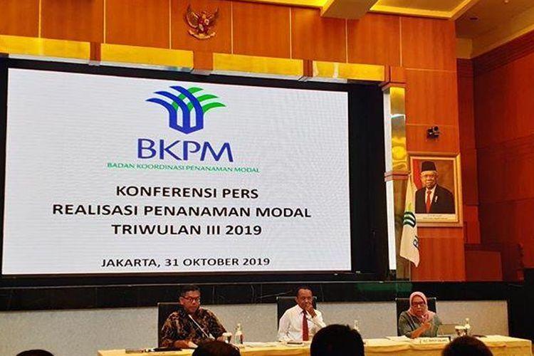 Kepala BKPM Bahlil Lahadalia saat memaparkan realisasi investasi kuartal III 2019 di Jakarta, Kamis (31/10/2019)
