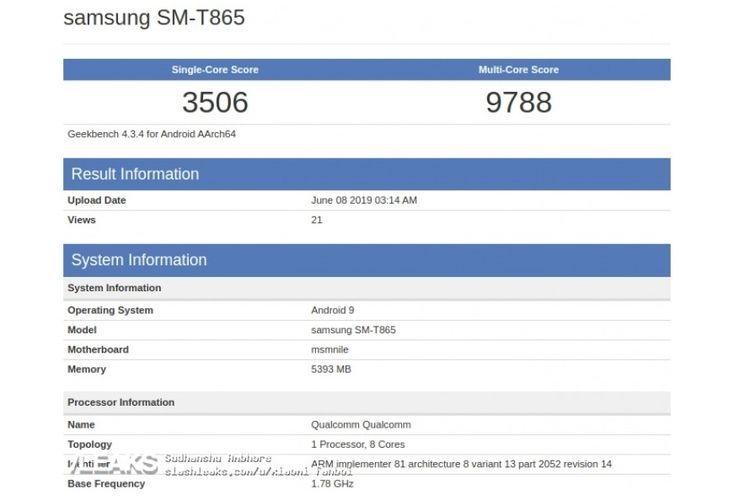 Bocoran spesifikasi Galaxy Tab S5 dengan nama SM-T865. Tampak menggunakan Snapdragon 855 dan dibekali RAM 6 GB.
