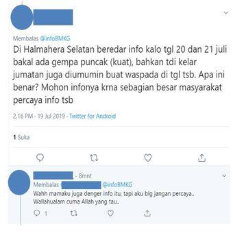 Tangkapan layar terkait kabar akan terjadi gempa di Halmahera Selatan.