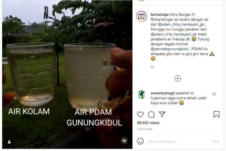 Tangkapan layar unggahan Instagram soal keluhan konsumen PDAM Gunungkidul atas keruhnya air pam yang mengalir ke rumah mereka