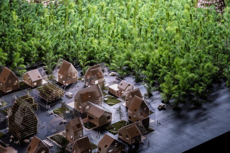 Desain milik firma arsitek Denmark, EFFEKT. Desain yang ditawarkan diberi nama Ego to Eco, yang melihat hubungan ekologis dengan masa depan.