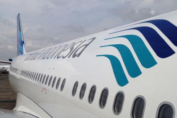 Tampak bagian dari pesawat terbaru Garuda Indonesia, Airbus A330-300, yang diresmikan di Hangar 4 GMF-Aeroasia, Bandara Soekarno-Hatta, Tangerang, Senin (1/2/2016).