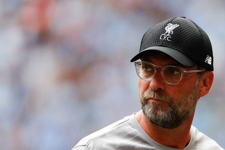 Pelatih Liverpool, Juergen Klopp, tiba jelang pertandingan Liverpool vs Man City dalam Community Shield 2019 di Stadion Wembley, 4 Agustus 2019.