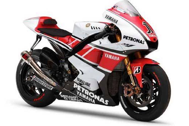 Livery spesial YZR-M1 dengan motif Speed Block untuk memperingati 50 tahun Yamaha di Grand Prix
