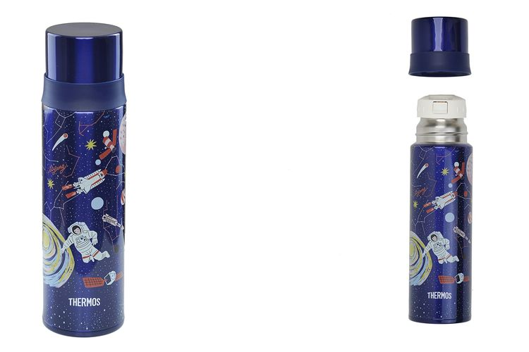 Botol minum bertema galaksi dari Thermos karya ilustrator Ayang Cempaka.