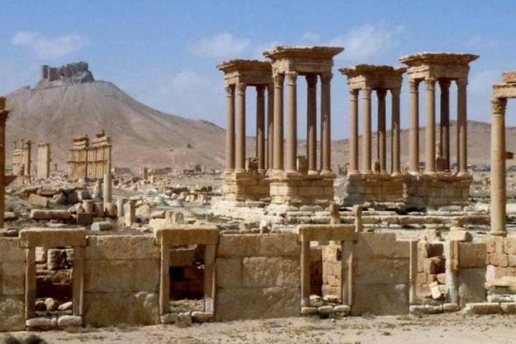 The Tetrapylon, bagian dari kota kuno Palmyra, situs warisan dunia UNESCO
