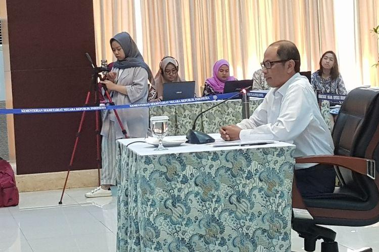 Salah satu capim KPK dari unsur BPK, I Nyoman Wara saat menghadiri wawancara dan uji publik capim KPK di Kementerian Sekretariat Negara, Selasa (27/8/2019).
