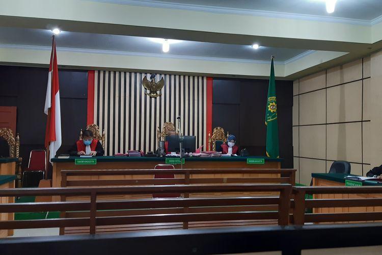 Suasana sidang vonis Ratiman MS secara daring di Pengadilan Negeri Jambi, pada Selasa (28/8/2020).