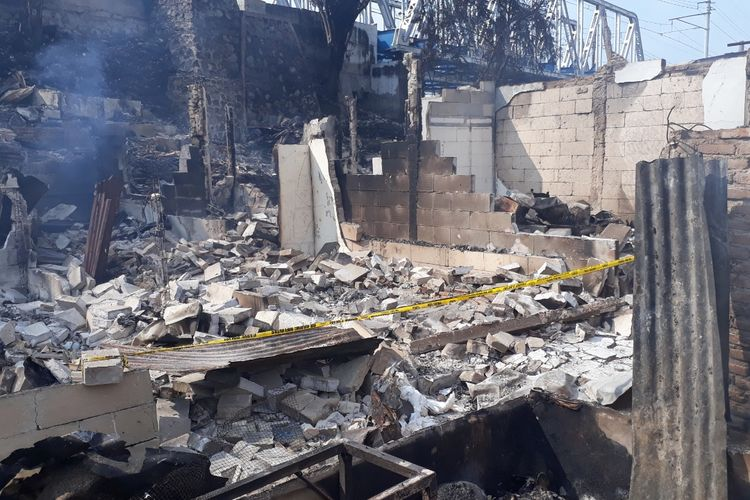 Kondisi RT 011, RW 005, Kelurahan Ancol, Kecamatan Pademangan, Jakarta Utara, usai dilanda kebakaran pada Sabtu (11/5/2019) malam.