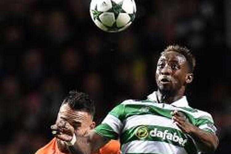 Penyerang Celtic, Moussa Dembele, tampil pada laga Liga Champions kontra Manchester City di Celtic Park, 28 September 2016.