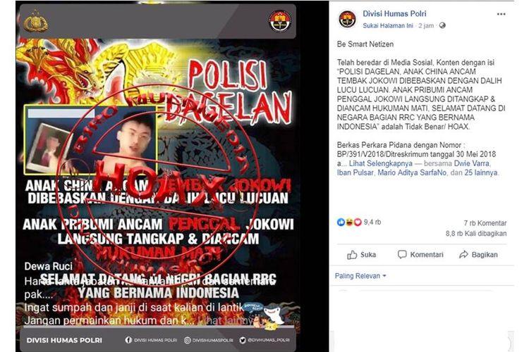 Tangkapan layar penjelasan Divisi Humas Polri mengenai hoaks seputar video ancaman terhadap Jokowi