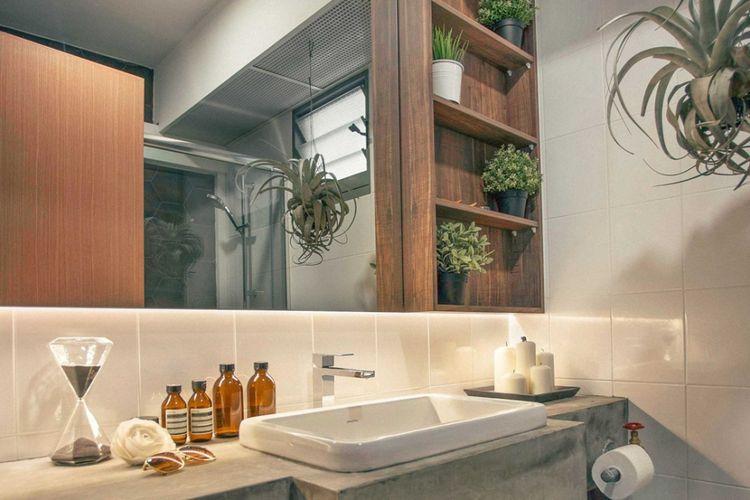 Dekorasi kamar mandi RD residence di Singapura karya HelloEmbryo.