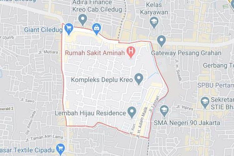 Peta Kreo Selatan, Kota Tangerang.