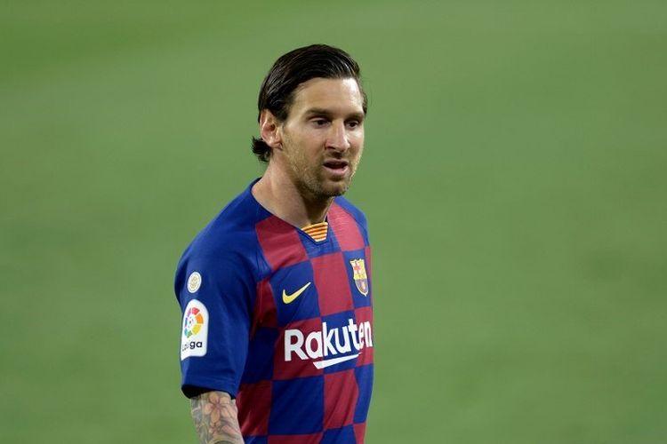 Lionel Messi pada laga Sevilla vs Barcelona di Stadion Ramon Sanchez Pizjuan dalam lanjutan pekan ke-30 LaLiga, kasta teratas Liga Spanyol, Jumat 19 Juni 2020.