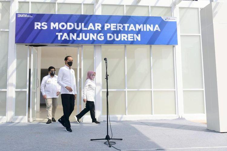 Presiden Joko Widodo meresmikan Rumah Sakit Pertamina Tanjung Duren Ekstensi RS PELNI, Jumat (6/8/2021).