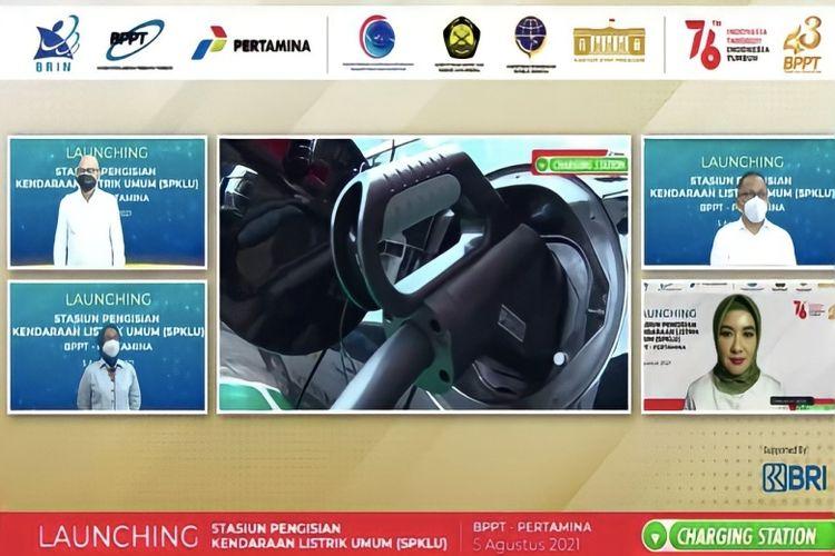 Peluncuran dan peresmian Stasiun Pengisian Kendaraan Listrik Umum (SPKLU) yang dilaksanakan Badan Pengkajian dan Penerapan Teknologi (BPPT) bersama Pertamina, Kamis (5/8/2021).