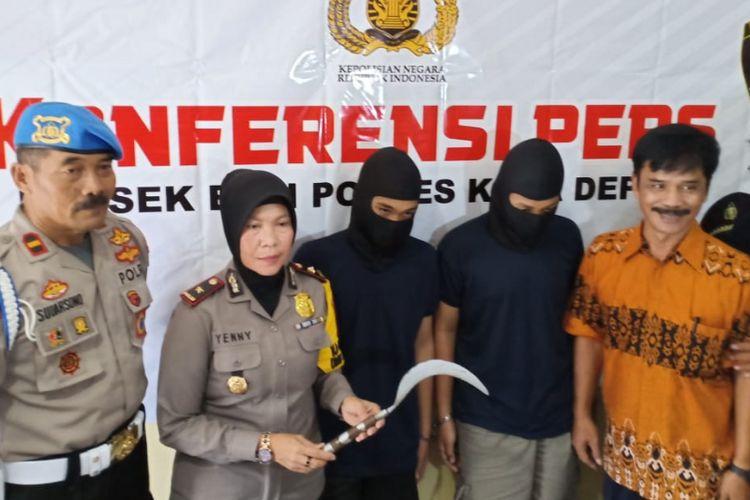 Press conference pelaku begal di Polsek Beji, Depok, Jumat (8/3/2019).