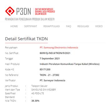 Ponsel Samsung dengan kode nomer SM-M526BR terdaftar di laman resmi TKDN.