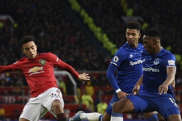 Mason Greenwood dalam laga Manchester United vs Everton, Minggu (15/12/2019) di Old Trafford.