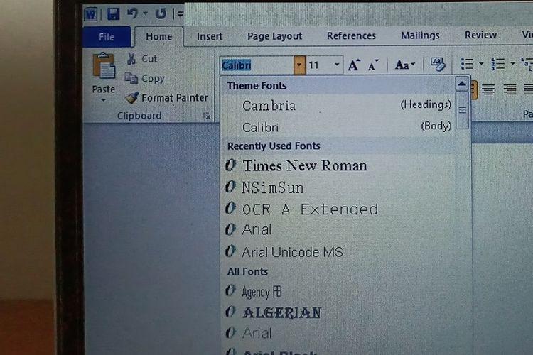 Calibri sebagai font default di Microsoft office