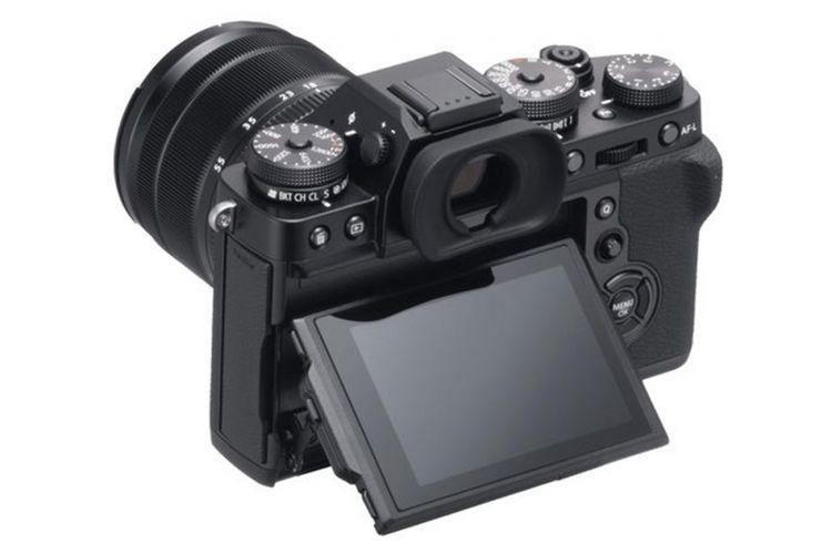 Tampak belakang Fujifilm X-T3 varian warna hitam.